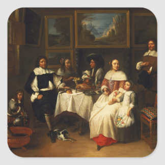 A Flemish Family at Dinner Square Sticker