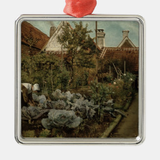 A Flemish Garden Silver-Colored Square Decoration
