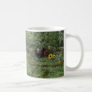 A flock among the sunflowers coffee mug