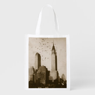 A flock of birds flying reusable grocery bag