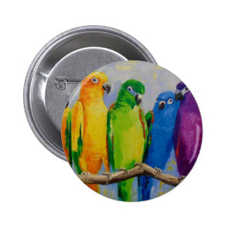 A flock of parrots 6 cm round badge