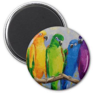 A flock of parrots 6 cm round magnet