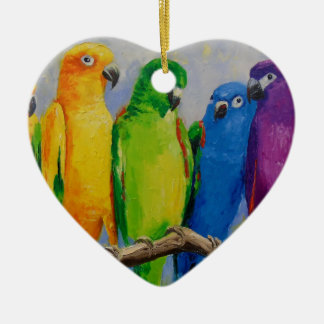 A flock of parrots ceramic heart decoration