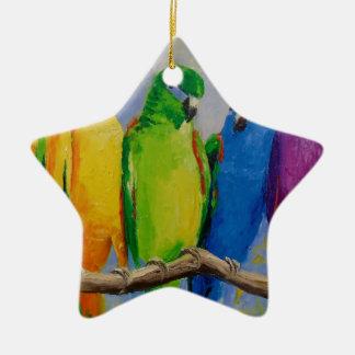 A flock of parrots ceramic star decoration