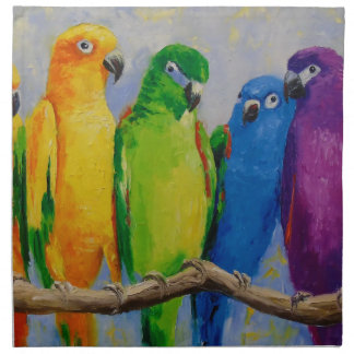 A flock of parrots napkin