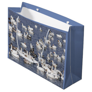 A Flock of Snow Geese at the Beach Large Gift Bag