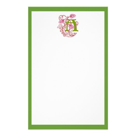 """A"" Floral Art Nouveau Monogram Stationery"