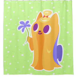 """A Flower For You"" Long-haired Kawaii Yorkie Shower Curtain"