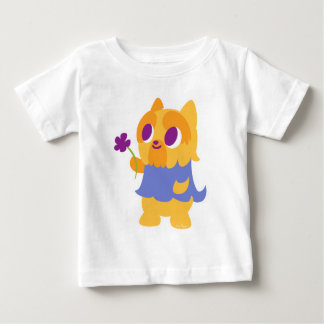 """""""A Flower For You"""" Short-haired Kawaii Yorkie Baby T-Shirt"""