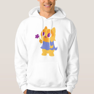 """""""A Flower For You"""" Short-haired Kawaii Yorkie Hoodie"""