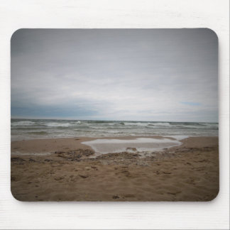 A foggy day at the beach mouse pad