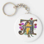 A for Angel Print Basic Round Button Key Ring