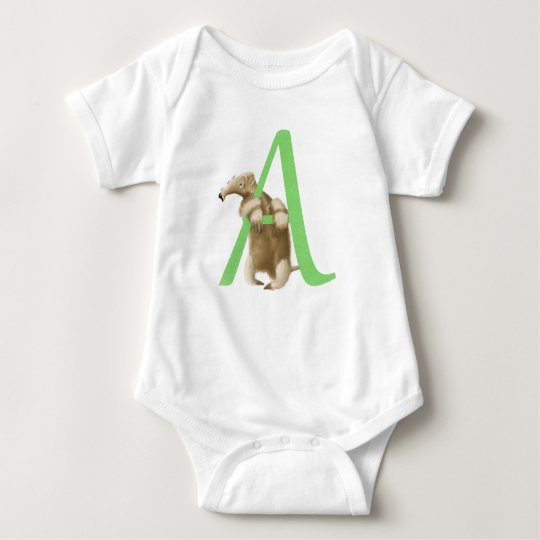 A for Anteater Initial Monogram Baby Bodysuit