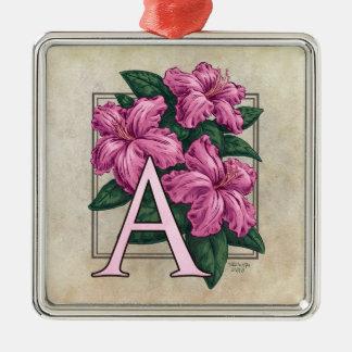 A for Azalea Flower Monogram Square Prem Ornament