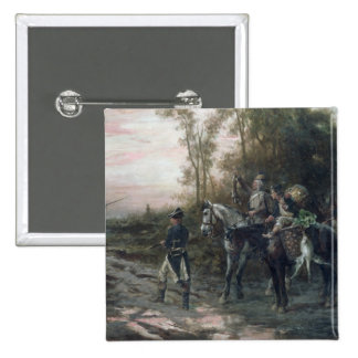 A Foraging Party Returning to Camp (oil on canvas) 15 Cm Square Badge