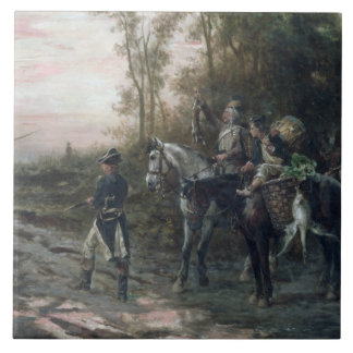 A Foraging Party Returning to Camp (oil on canvas) Large Square Tile