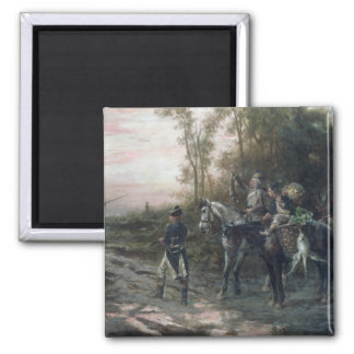 A Foraging Party Returning to Camp (oil on canvas) Square Magnet