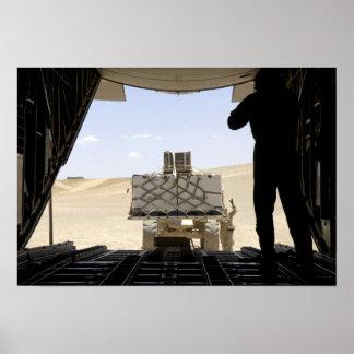 A forklift loads cargo onto a C-130 Hercules Print