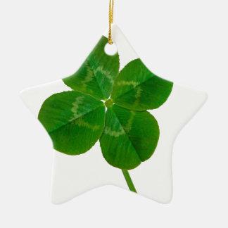 A Four Leaf Clover Ceramic Star Decoration
