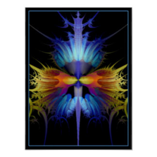 A fractal image resembling rare blue orchid poster