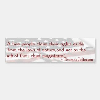 A Free People - Jefferson Bumper Stickers