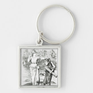 A French Lesson', cartoon from 'Punch' Silver-Colored Square Key Ring