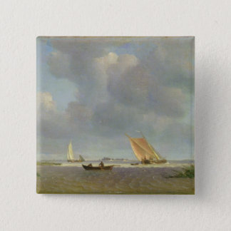 A fresh breeze on the Elbe, c.1830 15 Cm Square Badge