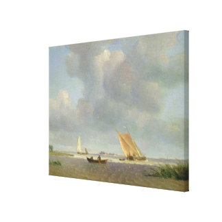 A fresh breeze on the Elbe, c.1830 Canvas Print