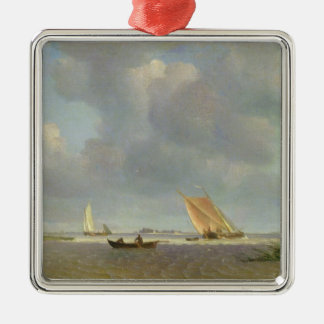 A fresh breeze on the Elbe, c.1830 Silver-Colored Square Decoration