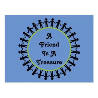 A friend is a treasure postcard