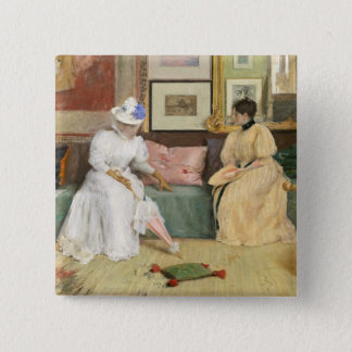 A Friendly Call, 1895 (oil on canvas) 15 Cm Square Badge