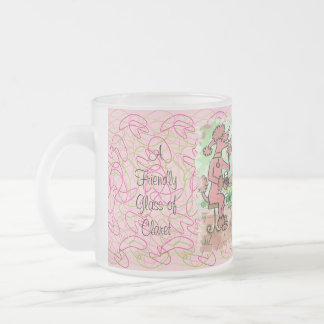 A Friendly Glass of Claret Frosted Glass Mug