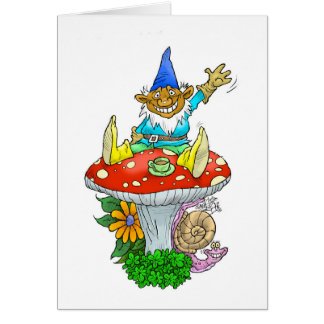A friendly Gnome on a greeting card. Greeting Card
