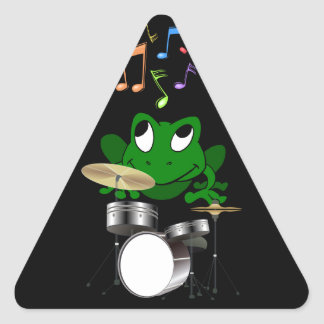 A Frog Dreams of Playing The Drums In A Rock Band Triangle Sticker
