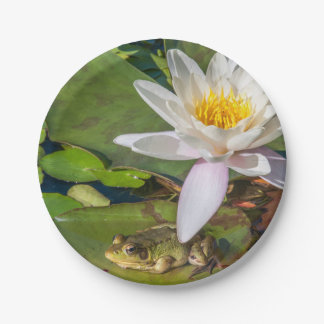 A frog under a flower of water lily paper plate