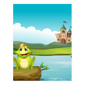 A frog with a crown at the river postcard
