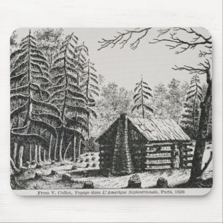 A frontier cabin from The Pageant of America Mousepad