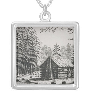 A frontier cabin, from 'The Pageant of America Silver Plated Necklace