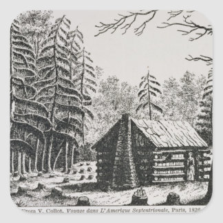 A frontier cabin, from 'The Pageant of America Stickers