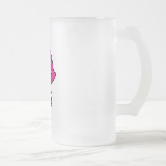 a frosted glass mug
