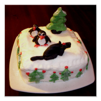 A Fun Christmas Cake Photo Poster