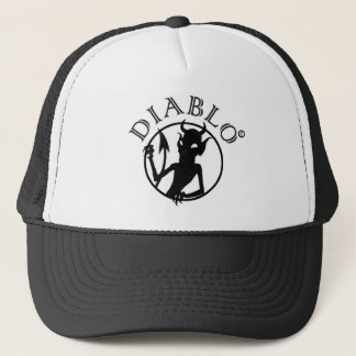 A funky fun devilish little design trucker hat