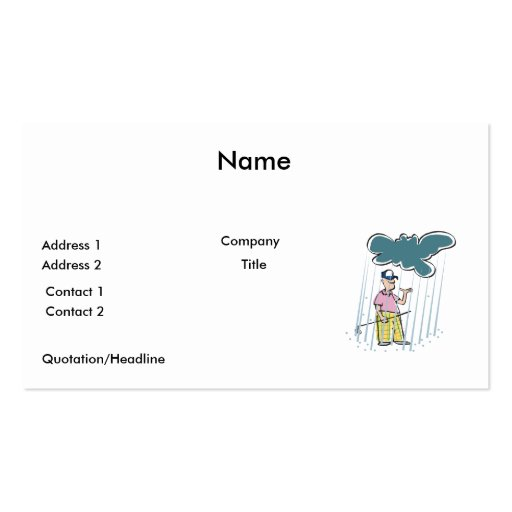 a funny golfer golfing in the rain business card