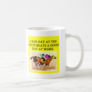a funny horse player racing joke basic white mug