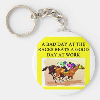 a funny horse player racing joke key ring