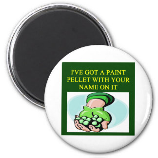 a funny paintball design 6 cm round magnet