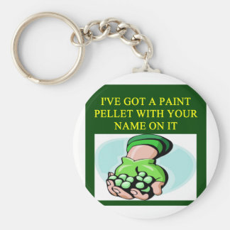 a funny paintball design basic round button key ring