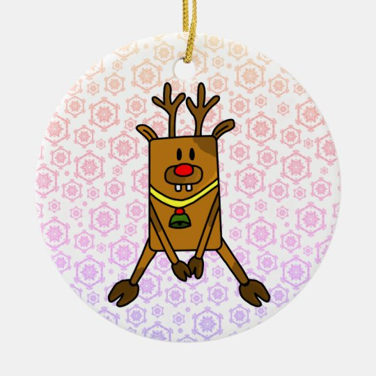 A Funny Reindeer with Snowflakes Christmas Ornament