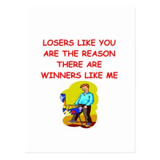 a funny winners and losers joke postcard