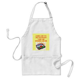 a funny winners and losers joke standard apron
